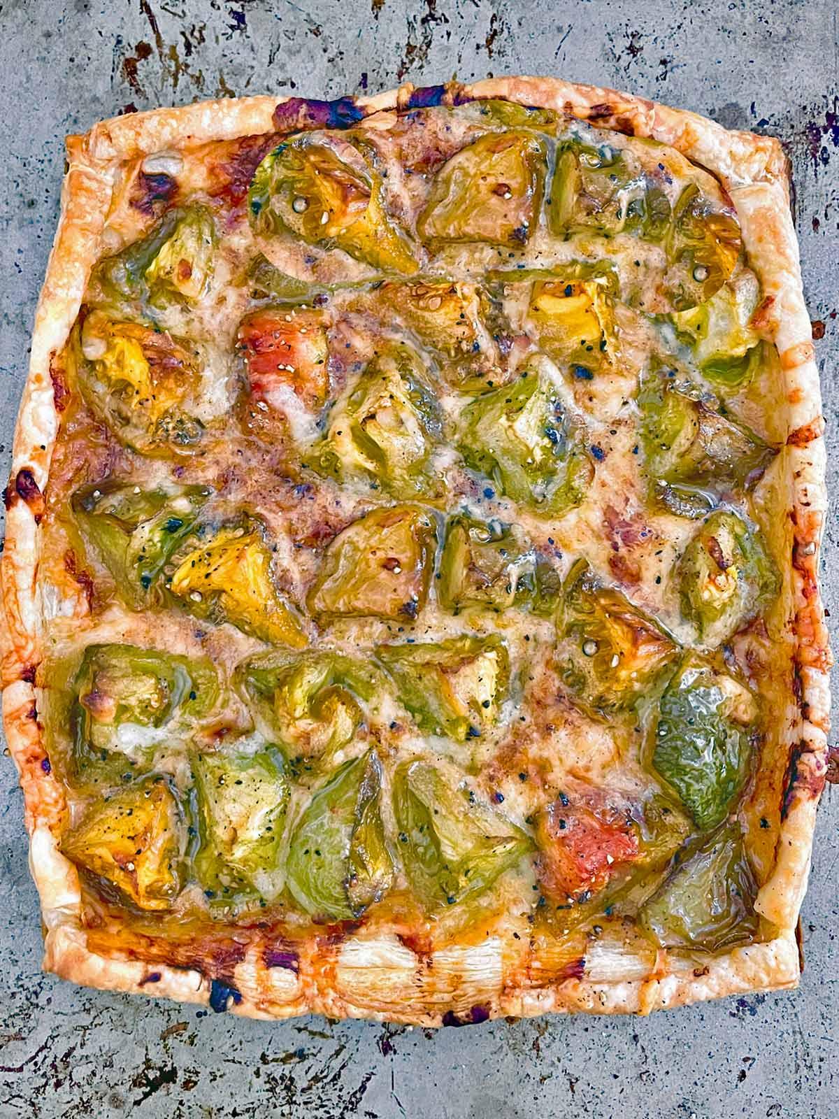 Baked Roasted Green Tomato Tart on baking sheet