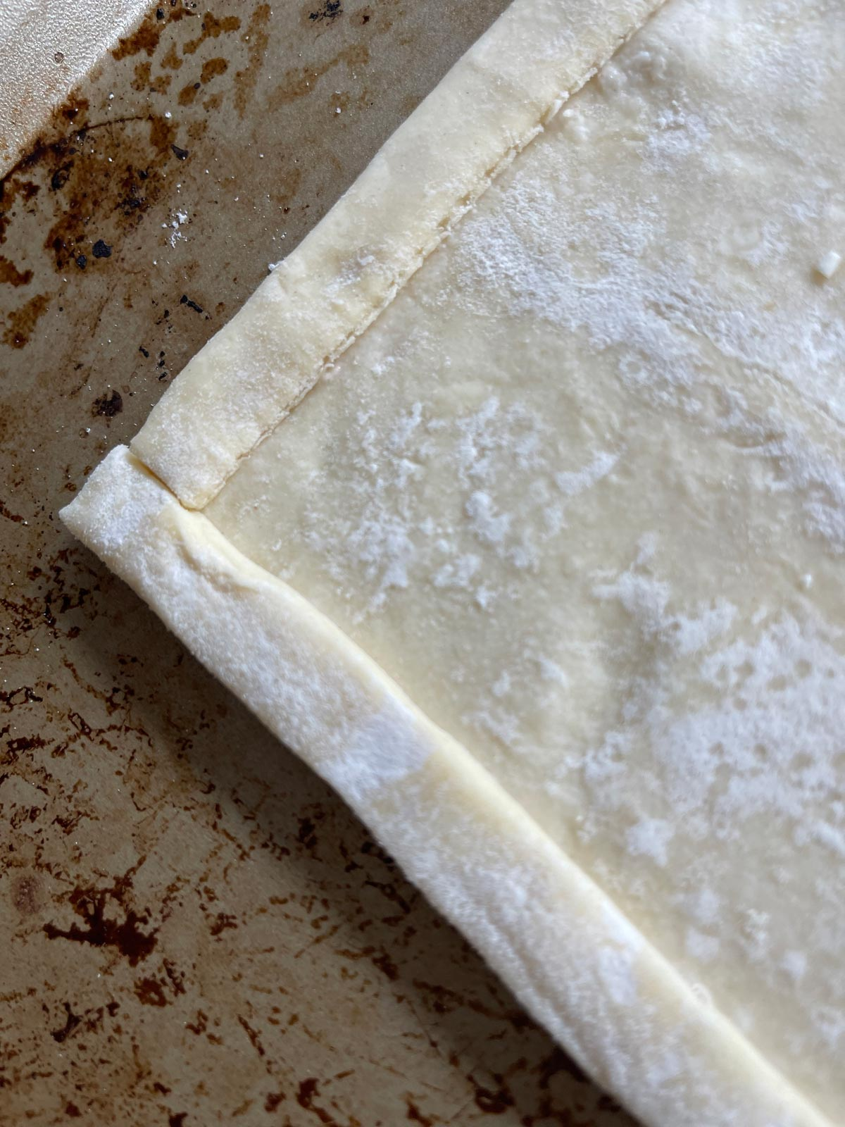 Raised edge of puff pastry