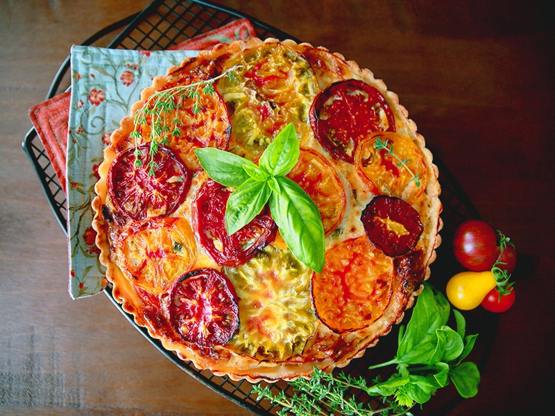 Heirloom Tomato Tart with Basil and Gruyere Cheese at The Egg Farm