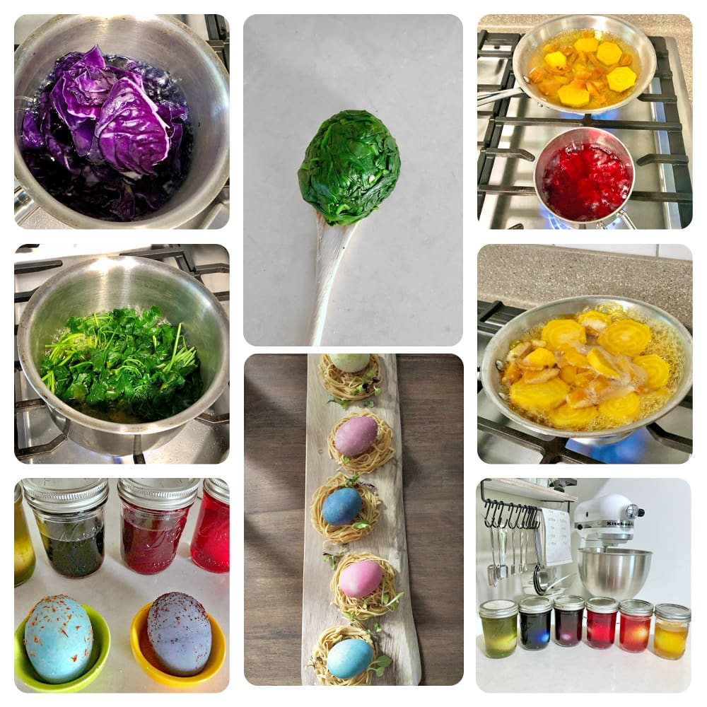 Collage with step for making egg dyes